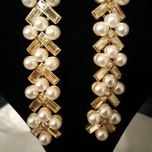 Oscar de la Renta New Pearl & Baguette Earrings